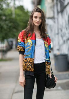 cool bomber. #CarolinaThaler #offduty in NYC.