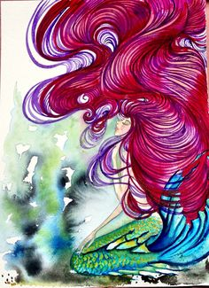 Serene Mermaid Original Watercolor Painting...THIS is the hair I'm taking about!!