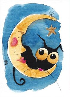 ACEO Original watercolor whimsy Stressie Cat painting Lucia Stewart sweet moon #IllustrationArt