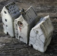 Raku Church and Houses, Mark Strayer, North Star Pottery