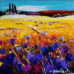 Artwork >> Maya Green >> #Landscape With #Blue #Flowers #artwork, #masterpiece, #paining, #art,