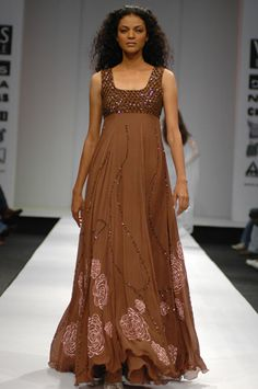 Brown and Brown: I love this dress! The fit, flow and the little pink pattern on the bottom. This is a Swapan and Seema desgin