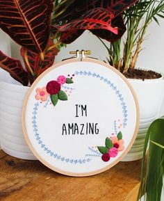 I'm Amazing Feminist Floral Embroidery Kit by Tata Sol on Etsy | Modern Embroidery Kits for Beginners