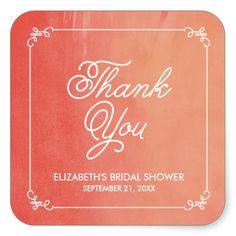 Coral Elegant Watercolor Bridal Shower Favor Square Stickers