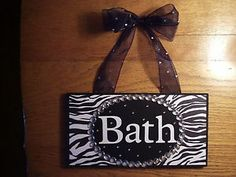 Zebra Wall Decor for Bathroom | ... about Zebra Animal Print Bath Bathroom Chic Sign Zebra Wall Decor
