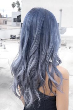 Denim Hair Is Most Unexpected Trend — & We Love It+ Get ready to see silvery blue hair everywhere this year. Hair Dye Colors, Ombre Hair Color, Cool Hair Color, Light Hair Colors, Grey Hair Wig, Dye My Hair, Emo Hair, Dyed Gray Hair, Blonde Hair