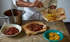 Mazi Mas Ethiopian beef stew with Berbere and a carrot, cabbage, potato side dish