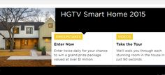 Enter the #HGTV Smart Home 2015 #Sweepstakes for a chance to win your dream home, 2015 Mercedes Benz and $100,000 Cash. ARV is over $1,200,000! Expiration Date: 06/02/2015, Contest Eligibility: US