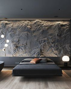 Dark interiors can be classy and not gloomy ・・・ A 65 sqm classy apartment for a young couple! Designed and visualized by   Tell me what do you think? Luxury Bedroom Design, Home Room Design, Best Interior Design, Bed Design, Interior Decorating, Interior Lighting Design, Black Room Design, Stone Interior, Contemporary Interior Design