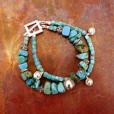 Turquoise Double Strand Sterling Silver Boho Bracelet