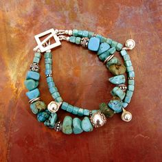 Turquoise Double Strand Sterling Silver Boho Bracelet
