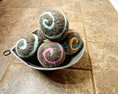 Ovella Wool Dryer Balls, The Lixo Brillante Collection. Set of three (3) swirls, brown, grey, classic, colorful, bright, orange, pink, green - pinned by pin4etsy.com