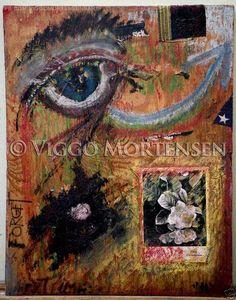 """Viggo Mortensen, """"Forget Time"""", 1997. Collage y óleo sobre madera."""