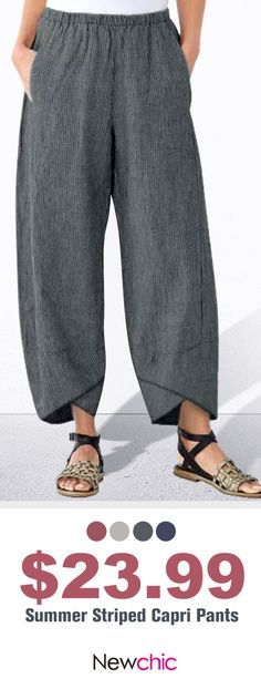 【Shop OFF Asymmetrical Elastic Waist Pants Women Fashion - Mode aller Zeiten - Moda para Mujeres Sewing Pants, Sewing Clothes, Camping Outfits For Women Summer, Comfy Pants, Women's Pants, Boho Pants, Trousers, Pants For Women, Clothes For Women