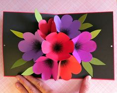 mmmcrafts this time in purple pink orange and red pop up flower card