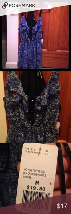 NWT Forever 21 blouse! Blue and purple floral design, cinched waist, with ruffle and button detail Forever 21 Tops
