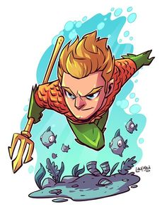 Aquaman colored! Print available at dereklaufman.com (link in my profile. #chibi…