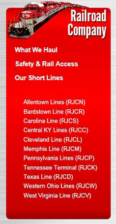 R. J. Corman Railroad Group. Services are: Aircraft Maintenance, Track Construction/Maintenance, Signaling, Emergency Services, Dinner Trains, Distribution Services, Equipment Rental, Material Sales, Locomotive, Shortline Railroads, Storm Team and Switching
