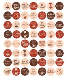 COFFEE TALK  1 Inch Circles Digital Collage Sheet by collageshop