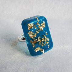Sapphire blue chunky cocktail resin statement ring - elegant versatile modern chic resin jewelry