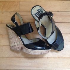 Black Patent Cork Wedges by Free Press Size 8.5 Black patent ankle strap cork wedges. In great condition, very comfortable. Free Press brand purchased at Nordstrom. All man made materials. Size 8.5 M. No trades please! Nordstrom Shoes Wedges