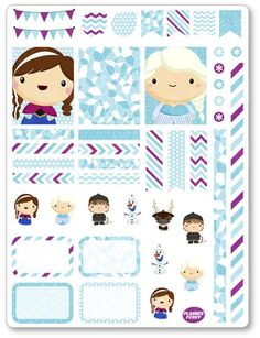 Frozen Friends Decorating Kit / Weekly Spread Planner Stickers - Planner Penny