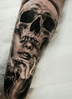 Realistic tattoos with morphing effects by Benji Roketlauncha - cool double . - Realistic tattoos with morphing effects by Benji Roketlauncha – cool double exposure tattoo © ta - Fake Tattoo Sleeves, Skull Sleeve Tattoos, Forearm Sleeve Tattoos, Sugar Skull Tattoos, Leg Tattoos, Body Art Tattoos, Tattoos For Guys, Flower Tattoos, Cover Up Tattoos For Men