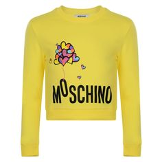 32dfefc2a4c Moschino Girls Yellow Sweatshirt with Multicoloured Heart Balloon Print and  Black Branded Text