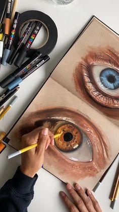 Art Drawings Sketches Simple, Pencil Art Drawings, Eye Drawings, Amazing Drawings, Colorful Drawings, Realistic Eye Drawing, Cute Eyes Drawing, Realistic Paintings, Color Pencil Art