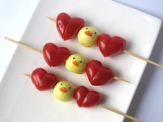 Mini-mozzarella chicks and tomato skewers.  SO CUTE!  I might have trouble eating them.