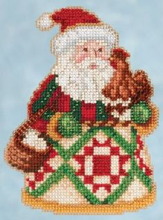 """JS205104 -  Early Morning Santa by Jim Shore - Winter Series -  Kit Includes: Beads, White perf paper, needles, floss, chart and instructions.   Size: 3.5"""" x 5"""""""