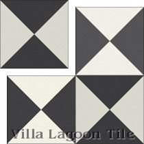 """""""Tugboat Black and White"""" Encaustic Cement Tile, from Villa Lagoon Tile"""