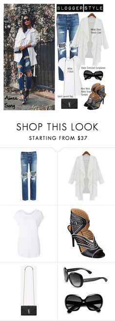 """Blogger Style: Aimee Song"" by helenevlacho ❤ liked on Polyvore featuring rag & bone/JEAN, Witchery, Nine West, Yves Saint Laurent and Ray-Ban"