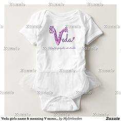Veda girls name & meaning V monogram shirt designed by www.mylittleeden.com #veda #girlsnames #uniquenames #babynames