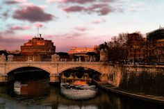 clouds     italy     cityscape     bridge     rome     brown     evening     pink     castle