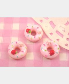 6 x Kawaii Pink Donut Doughnut Flat Back Cabochons Decoden Kitsch