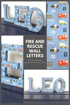 These cute wooden wall letters feature fire trucks, police cars and ambulances, every little boy's favorites. An adorable addition to any toddler bedroom #toddler #littleboy #boysroom #toddlerroomdecor #woodenletters #letters #namesign #kidsgift #cutekidsroom #kidsbedroom Baby Name Letters, Wooden Wall Letters, Baby Name Signs, Nursery Letters, Toddler Boy Room Decor, Boys Room Decor, Kids Bedroom, Bedroom Ideas, Playroom Wall Decor