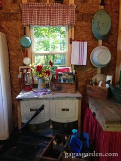 Antique Vintage Decor a teacher s dream garden shed, curb appeal, gardening, outdoor living, Antique Haag wash tubs - . Pool Shed, Backyard Sheds, Garden Sheds, Garden Tips, Shed Conversion Ideas, Shed Decor, Home Decor, Garden Shed Interiors, Cabin Interiors