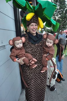 Sabrina and the twins in 2010 - she was a banana tree and they were little monkeys.