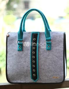 Grey Felt Grommets Tote Bag. See More Tote Bags at http://www.ourgreatshop.com/Tote-Bags-C775.aspx
