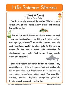 This Reading Comprehension Worksheet - Lakes & Seas is for teaching reading comprehension. Use this reading comprehension story to teach reading comprehension. The Effective Pictures We Offer You Abou Reading Comprehension Worksheets, Phonics Reading, Reading Passages, Teaching Reading, Reading Stories, Reading Activities, Stem Activities, English Stories For Kids, Kids Stories