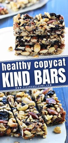 Is your family on a mission to include more healthy nuts in your diet? Learn how to make these Copycat KIND Bars at home! Loaded with wholesome goodness and treat-like add-ins, these energy bars will� More Best Dessert Recipes, Sweet Recipes, Holiday Recipes, Delicious Desserts, Snack Recipes, Bar Recipes, Healthy Recipes, Restaurant Recipes, Candy Recipes