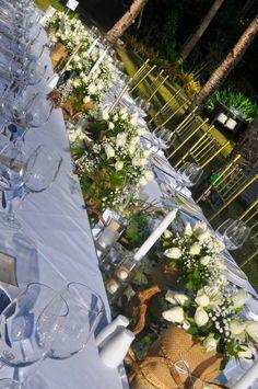 #tablescape #whiteroses #jutesacks #weddingideas #beachwedding #destinationwedding #shangrilaboracay #misheesevents #eventstyling #weddings Event Styling, White Roses, Weddingideas, Tablescapes, Destination Wedding, Table Decorations, Weddings, Beach, Home Decor