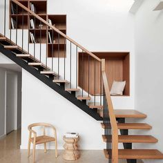 Location: Melbourne, Victoria, Australia - Kingsville Residence is a minimalist home located in Melbourne, Australia, designed by Richard King Design. Richard King Design were engaged to design and… Staircase Metal, Staircase Design, Staircase Shelves, House Staircase, Steel Stair Railing, Wood Railing, Open Staircase, Staircase Makeover, Staircases