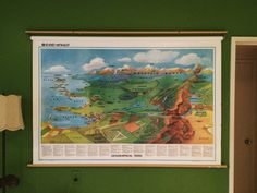 pull down map wall map world map Extra large by FlickerAndSway