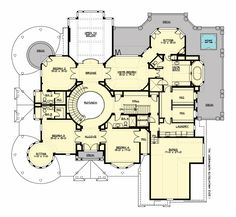 Upper Floor Plan for Chastoria Cove Plan #M6725A3S-5. 7815 sq ft + 935 sq ft 3 car garage. 3 stories with 5 bedrooms, 5 full and 1 half bath. Family room w/fireplace, Study w/fireplace, wine cellar, Rotunda stairwell, extra large kitchen w/pantry and butler's pantry to formal dining, wrap-around porch, round music room, side entry mud room, 3 floor elevator, 2nd fl laundry, large bonus rm on 2nd floor, 3rd fl Rec room w/bath and storage.