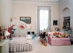 The East Bedroom as Caroline Kennedy's bedroom in 1962, looking northeast (Kennedy Library)