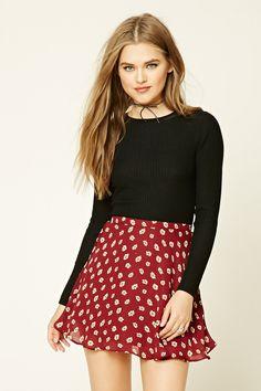 Floral Daisy Mini Skirt