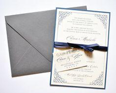 Navy and Gray Wedding Invitations, Navy, Grey, Gray, Elegant Wedding Invitation, Calligraphy on Etsy, $5.25