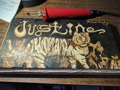 Calling it finished!  Clear coat and it's off! #LockesLuckyMoonandStars #pyrography #tiger